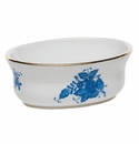"""Herend Chinese Bouquet Blue Mini Oval Bowl 3.75""""L X 1.5""""H"""