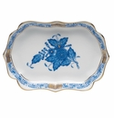 """Herend Chinese Bouquet Blue Mini Scalloped Tray 4.25""""L X 3"""