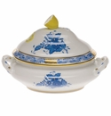 """Herend Chinese Bouquet Blue Mini Tureen 5""""L X 4""""H With Lemon"""