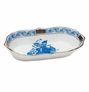 """Herend Chinese Bouquet Blue Narrow Pin Dish 5""""L X 1""""H"""