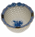"""Herend Chinese Bouquet Blue Openwork Basket With Flowers 4""""D"""