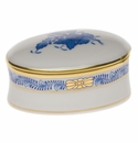 """Herend Chinese Bouquet Blue Oval Box  2.75""""L X 1.25""""H"""