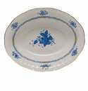 """Herend Chinese Bouquet Blue Oval Vegetable Dish 10""""L X 8""""W"""
