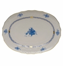 """Herend Chinese Bouquet Blue Platter  15""""L X 11.5""""W"""