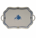 """Herend Chinese Bouquet Blue Rectangular Tray With Branch Handles  18"""""""