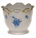 """Herend Chinese Bouquet Blue Ribbed Cachepot  6.25""""H X 7""""D"""