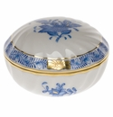 """Herend Chinese Bouquet Blue Ring Box  2.75""""D"""