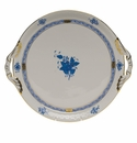 """Herend Chinese Bouquet Blue Round Tray With Handles  11.25""""D"""