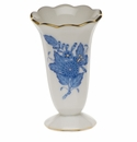 """Herend Chinese Bouquet Blue Scalloped Bud Vase  2.5""""H"""