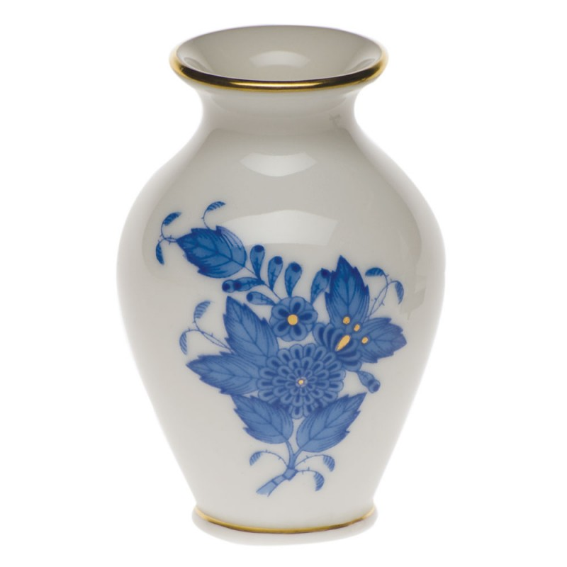 Herend Chinese Bouquet Blue Small Bud Vase With Lip 25h