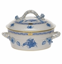Herend Chinese Bouquet Blue Small Covered Vegetable Dish With Branch