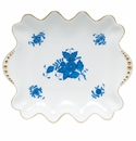 """Herend Chinese Bouquet Blue Small Dish With Pearls 5.75""""L X 6"""