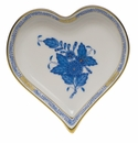 """Herend Chinese Bouquet Blue Small Heart Tray  4""""L X 4""""W"""