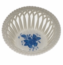 """Herend Chinese Bouquet Blue Small Openwork Basket 3.75""""D"""