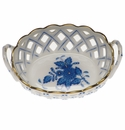 Herend Chinese Bouquet Blue Small Openwork Basket With Handles 3