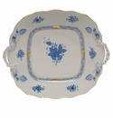 Herend Chinese Bouquet Blue Square Cake Plate With Handles  9