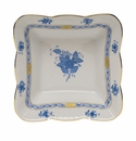 """Herend Chinese Bouquet Blue Square Dish 6.75""""L X 2.5""""H"""