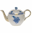 """Herend Chinese Bouquet Blue Tea Pot With Butterfly (12 Oz) 4"""""""