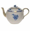 """Herend Chinese Bouquet Blue Tea Pot With Rose  (36 Oz) 5.5""""H"""