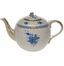"""Herend Chinese Bouquet Blue Tea Pot With Rose  (60 Oz) 6.5""""H"""