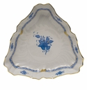 """Herend Chinese Bouquet Blue Triangle Dish  9.5""""L"""