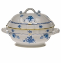 """Herend Chinese Bouquet Blue Tureen With Branch  (2 Qt) 9.5""""H"""