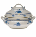 """Herend Chinese Bouquet Blue Tureen With Branch  (4 Qt) 10""""H"""