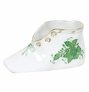 """Herend Chinese Bouquet Green Baby Shoe  4.5""""L X 2.75""""H"""
