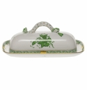 """Herend Chinese Bouquet Green Butter Dish With Branch  8.5""""L"""