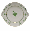 """Herend Chinese Bouquet Green Chop Plate With Handles  12""""D"""