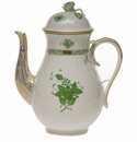 """Herend Chinese Bouquet Green Coffee Pot With Rose  (60 Oz) 10"""""""