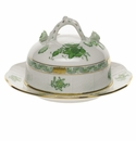 """Herend Chinese Bouquet Green Covered Butter Dish  6""""D 3.5""""H"""