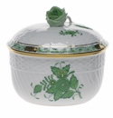 """Herend Chinese Bouquet Green Covered Sugar With Rose  (10 Oz) 4""""H"""