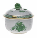 """Herend Chinese Bouquet Green Covered Sugar With Rose  (4 Oz) 3.25"""""""