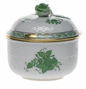 """Herend Chinese Bouquet Green Covered Sugar With Rose  (6 Oz) 4""""H"""