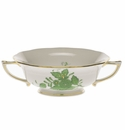 Herend Chinese Bouquet Green Cream Soup Cup  (8 Oz)