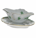 Herend Chinese Bouquet Green Gravy Boat With Fixed Stand  0.75