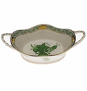 """Herend Chinese Bouquet Green Large Basket With Handles 6.75""""L"""