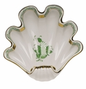 """Herend Chinese Bouquet Green Large Shell Dish 9""""L X 8.75""""W"""
