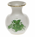 """Herend Chinese Bouquet Green Medium Bud Vase With Lip 2.75""""H"""