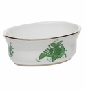 """Herend Chinese Bouquet Green Mini Oval Bowl 3.75""""L X 1.5""""H"""