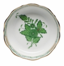 """Herend Chinese Bouquet Green Mini Scalloped Dish 3.25""""L X 0"""