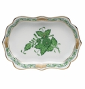 """Herend Chinese Bouquet Green Mini Scalloped Tray 4.25""""L X 3"""