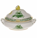 """Herend Chinese Bouquet Green Mini Tureen 5""""L X 4""""H With Lemon"""