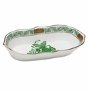 """Herend Chinese Bouquet Green Narrow Pin Dish 5""""L X 1""""H"""