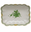 """Herend Chinese Bouquet Green Oblong Dish  7.25""""L X 5.5""""W"""