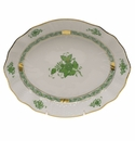 """Herend Chinese Bouquet Green Oval Dish  8.25""""L X 6.75""""W"""