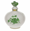 """Herend Chinese Bouquet Green Perfume With Butterfly  4""""W X 5""""H"""