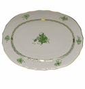 """Herend Chinese Bouquet Green Platter  15""""L X 11.5""""W"""