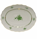 """Herend Chinese Bouquet Green Platter  17""""L X 12.5""""W"""